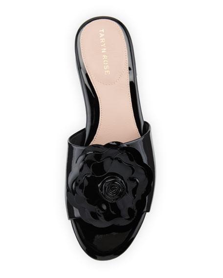 Violet Floral Patent Slide Sandal