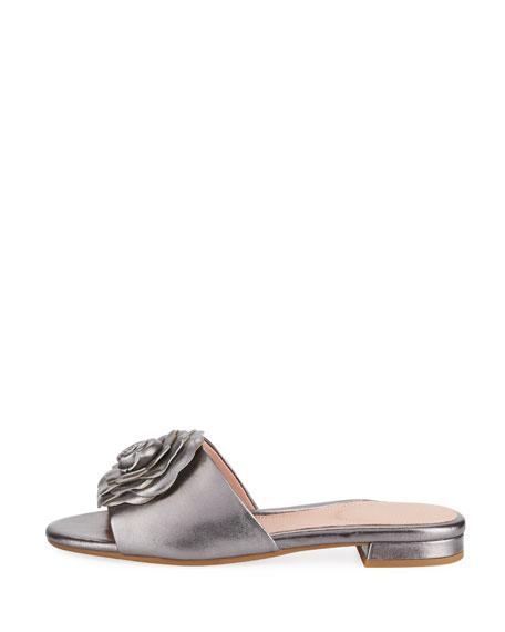 Violet Flat Floral Metallic Leather Slide Sandal