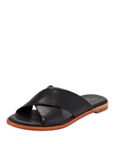 Anica Grand Crisscross Flat Slide Sandals, Black