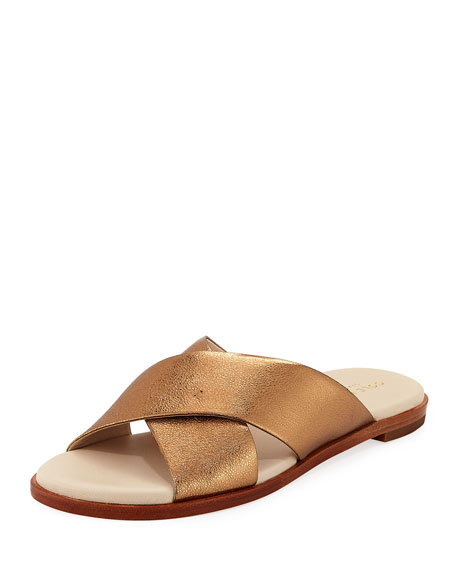 Anica Grand Crisscross Metallic Sandals, Gold