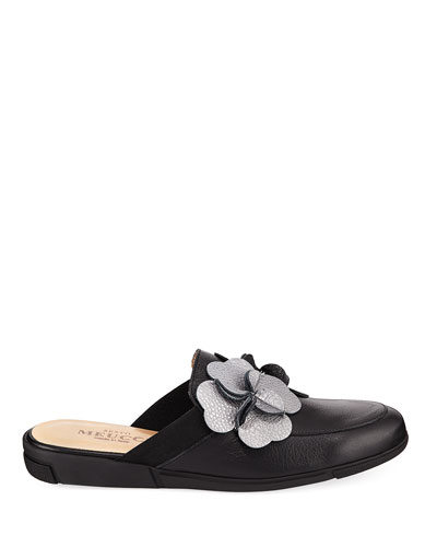 Diza Floral-Embellished Soft Leather Mule Flat
