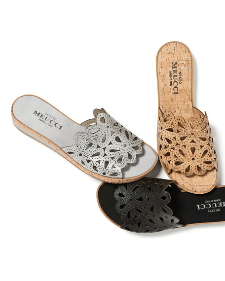 Senna Floral-Cut Cork Slide Sandal