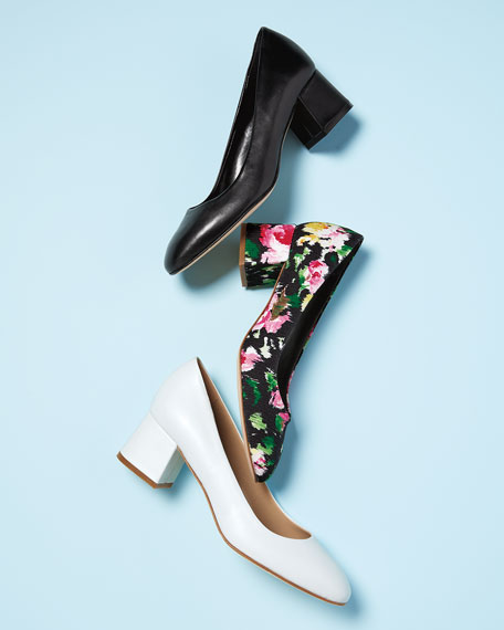 Myna Floral Fabric Block-Heel Pumps