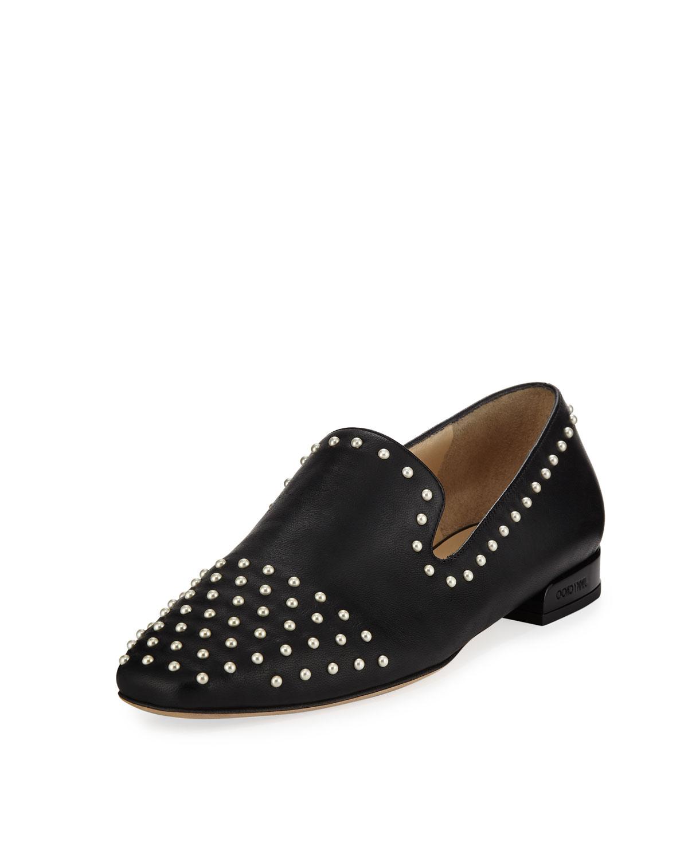 2421f990aada28 Jimmy Choo Jaida Flat Studded Leather Loafer
