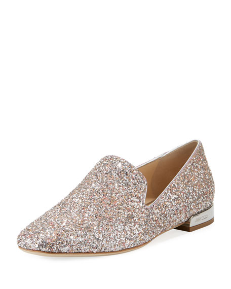 Jimmy Choo Jaida Flat Speckled Glitter Loafer