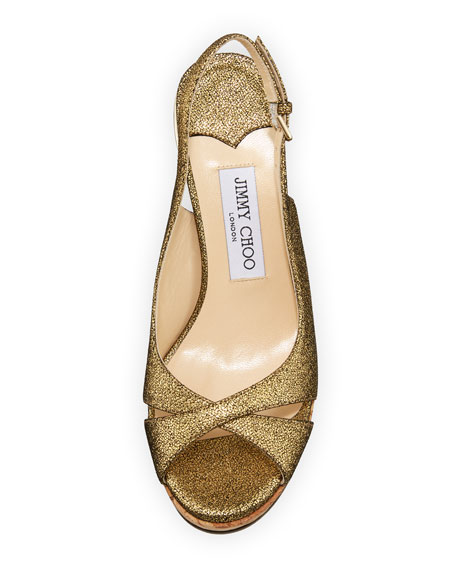 Amely 80mm Crackled Leather Cork Wedge Sandal