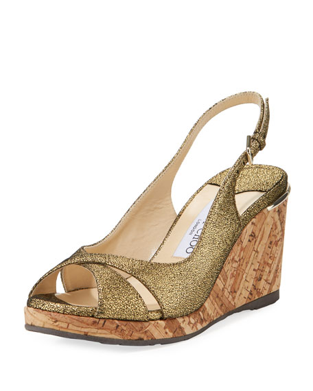 Jimmy Choo Amely 80mm Crackled Leather Cork Wedge