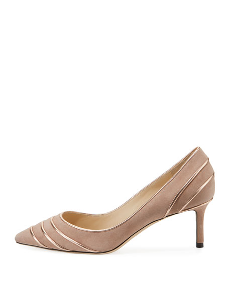 Romy 60mm Metallic Leather-Piped Suede Pump