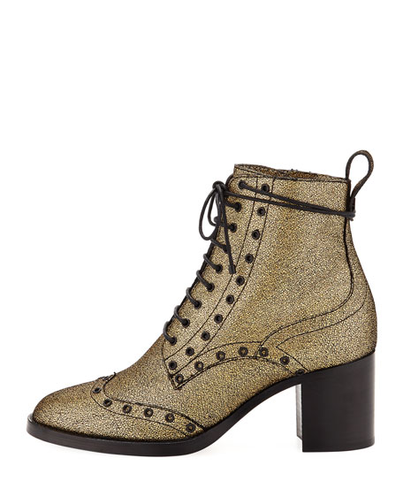 Hanah Crackled Leather Bootie