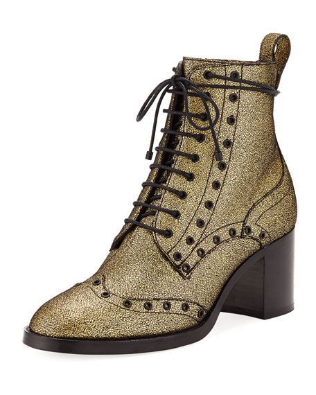 Hanah Crackled Leather Bootie by Jimmy Choo