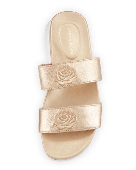 Ina 2-Band Metallic Leather Slide Sandal