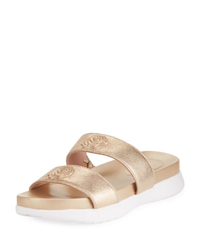Ina 2-Band Metallic Leather Slide Sandal