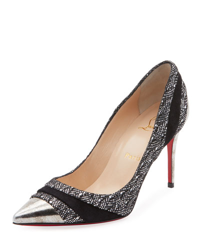 Eklectica Metallic Mixed-Media Red Sole Pumps