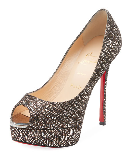 Christian Louboutin Fetish Peep 130mm Platform Glittered Red