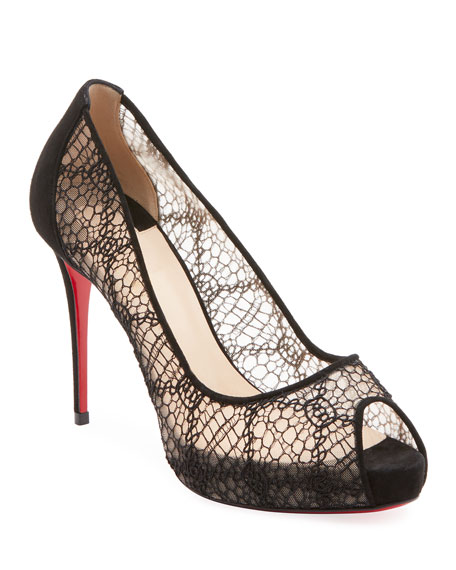 Very Lace Peep-Toe Red Sole Pumps
