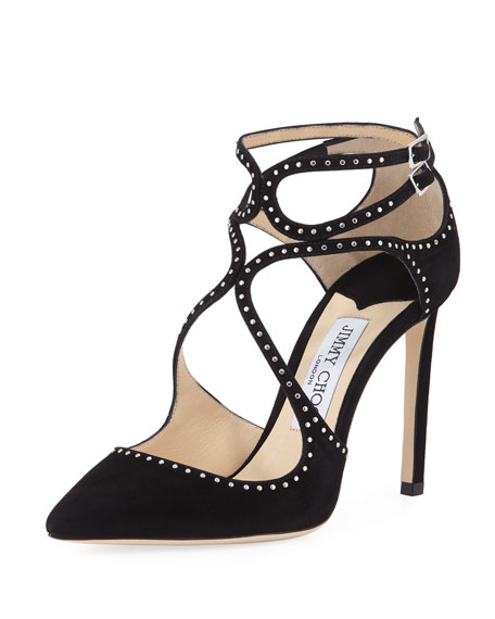 Jimmy Choo Lancer Studded Suede Pumps