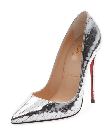 So Kate 120mm Metallic Crackled Leather Red Sole Pump by Christian Louboutin