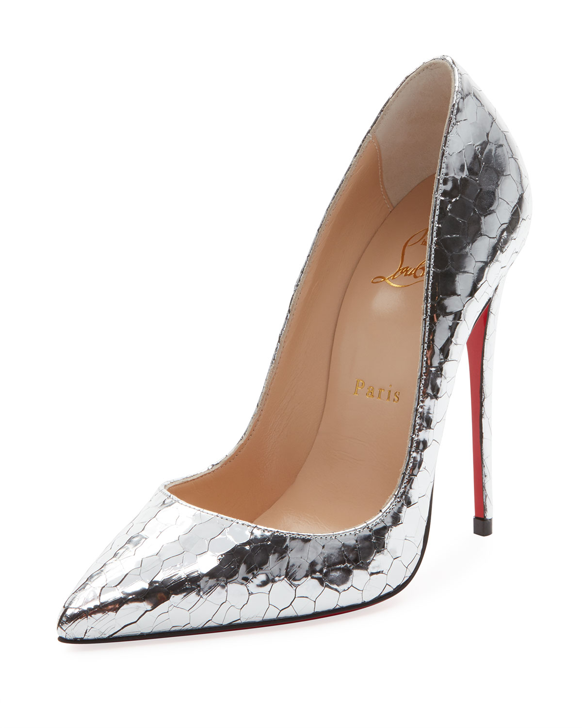 8d3bea9c9a70 Christian Louboutin So Kate 120mm Metallic Crackled Leather Red Sole Pumps
