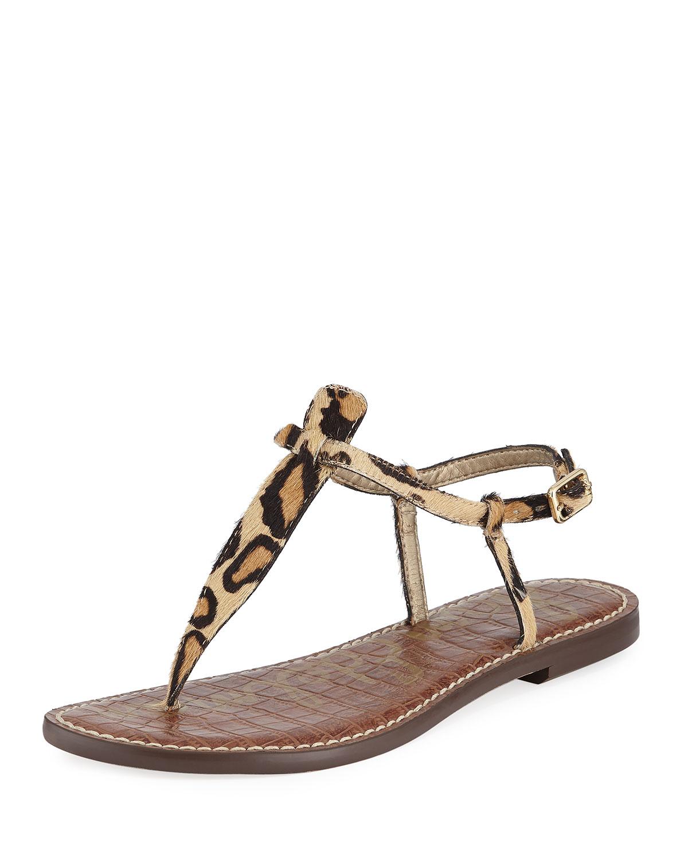 abe1b132b782f Sam Edelman Gigi Leopard-Print Calf-Hair Thong Sandal