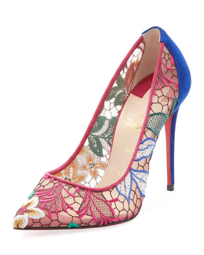 Follies Lace 100mm Embroidered Red Sole Pump