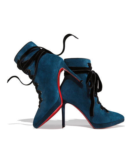 Christian Louboutin Circus Nana Lace-Up Suede Red Sole Booties