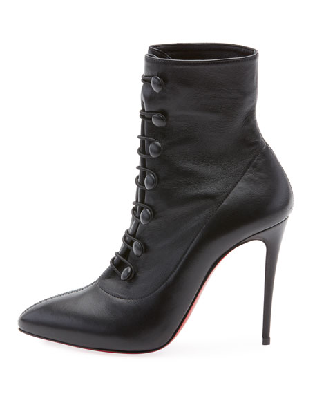 French Tutu Button-Loop Napa Red Sole Bootie