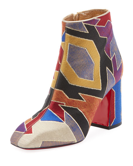 Hilconico Geometric Silk Jacquard Red Sole Bootie by Christian Louboutin