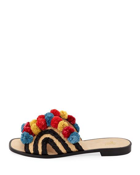 Paden Pompom Flat Slide Sandal