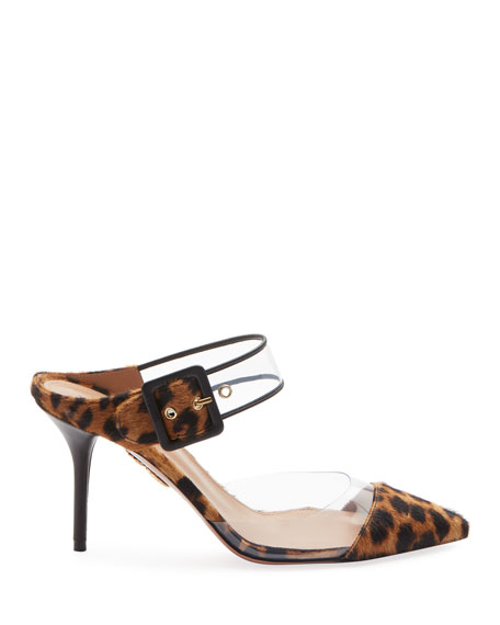 Optic Slide Pointed Leopard-Print Fur Mule