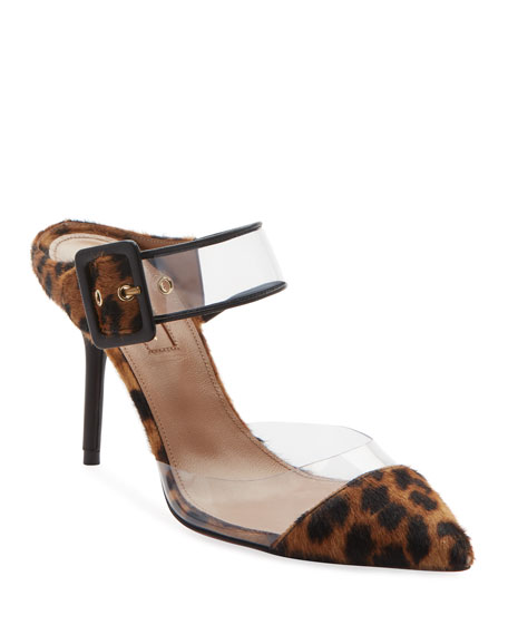 Optic Leather-Trimmed Pvc And Leopard-Print Calf Hair Mules