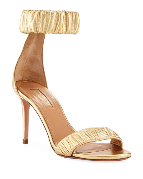 a692bbffcf228 Aquazzura Liberty Mid-Heel Metallic Napa Ankle-Wrap Sandal In Gold ...