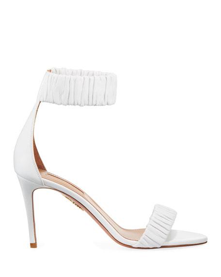 Liberty Mid-Heel Napa Ankle-Wrap Sandal