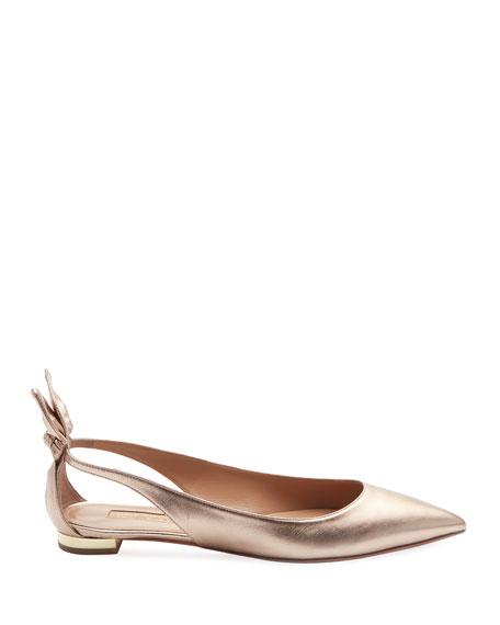 Deneuve Metallic Leather Ballet Flat