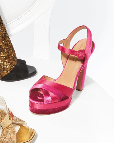 Coquette Velvet/Satin Platform 140mm Sandal