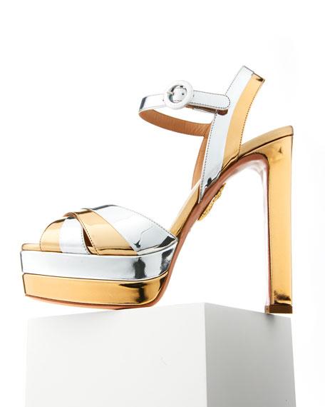Coquette Metallic Leather Platform Sandal