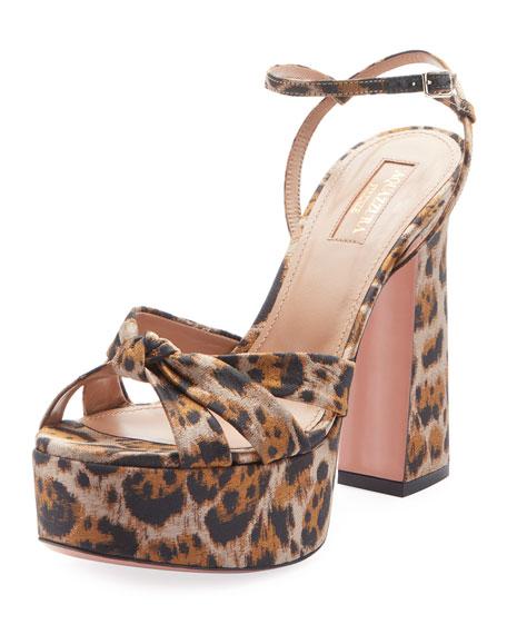 Baba Plateau Leopard Fabric Platform Sandal
