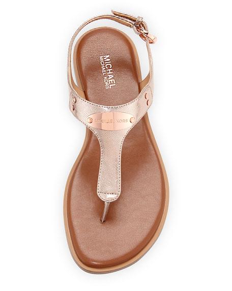 MK Plate Metallic Saffiano Flat Thong Sandal
