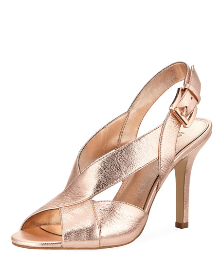 MICHAEL Michael Kors Becky Metallic Leather Crisscross Slingback Sandal