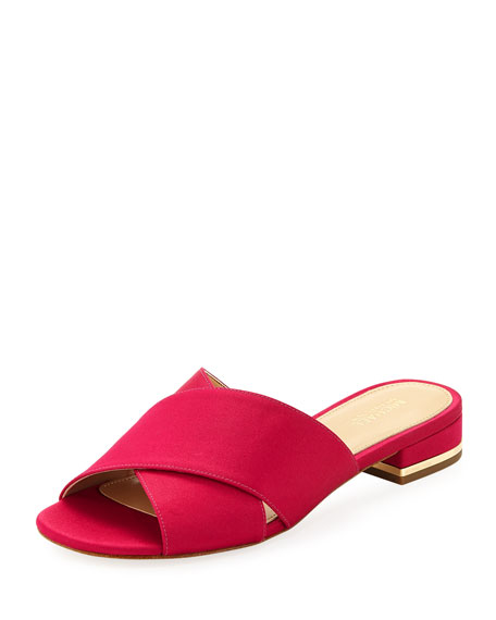 MICHAEL Michael Kors Shelly Flat Satin Crisscross Slide
