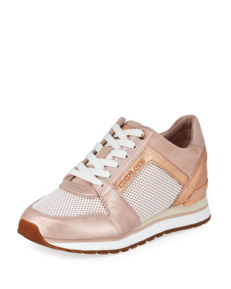 MICHAEL Michael Kors Billie Metallic Leather/Suede Trainer