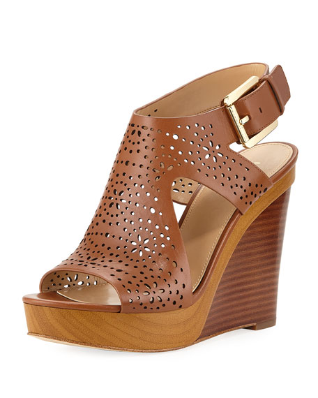 Josephine Perforated Wedge Sandal in Luggage