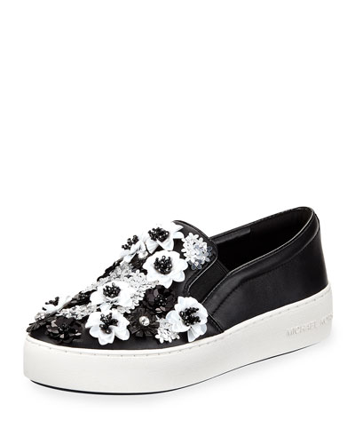 Trent Platform Skate Sneaker with Sequined Flowers
