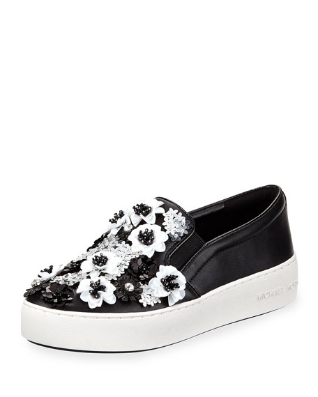 Trent Platform Skate Sneakers with Sequined Flowers