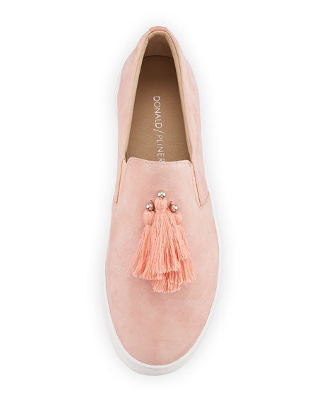 Sallie Suede Tassel Slip-On Sneakers