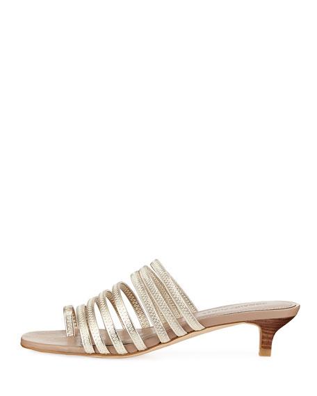 Evone Easy Metallic Leather Kitten-Heel Mule Sandal