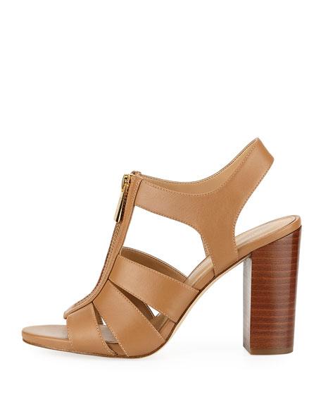 Damita Front-Zip Leather Block-Heel Sandal