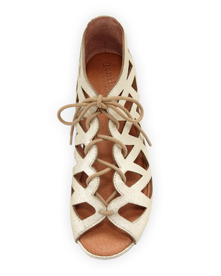 Brielle Lace-Up Flat Cutout Comfort Sandal