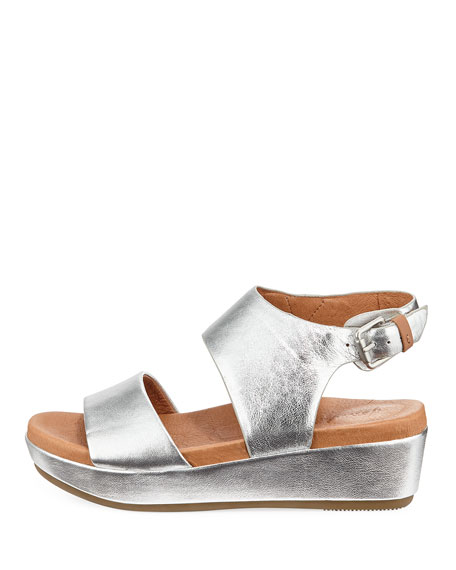 Lori Metallic Leather Comfort Wedge Sandal
