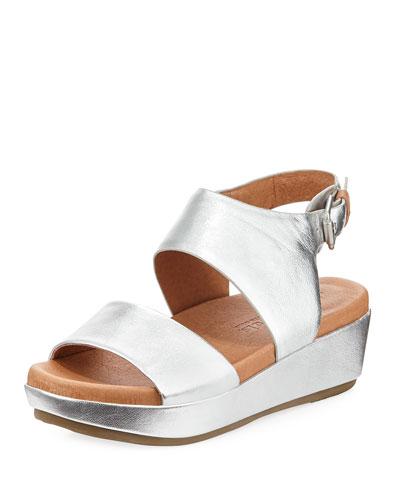 Lori Metallic Leather Comfort Wedge Sandal