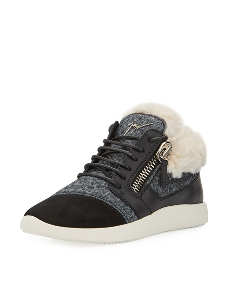 Faux-Fur High-Top Trainer Sneakers